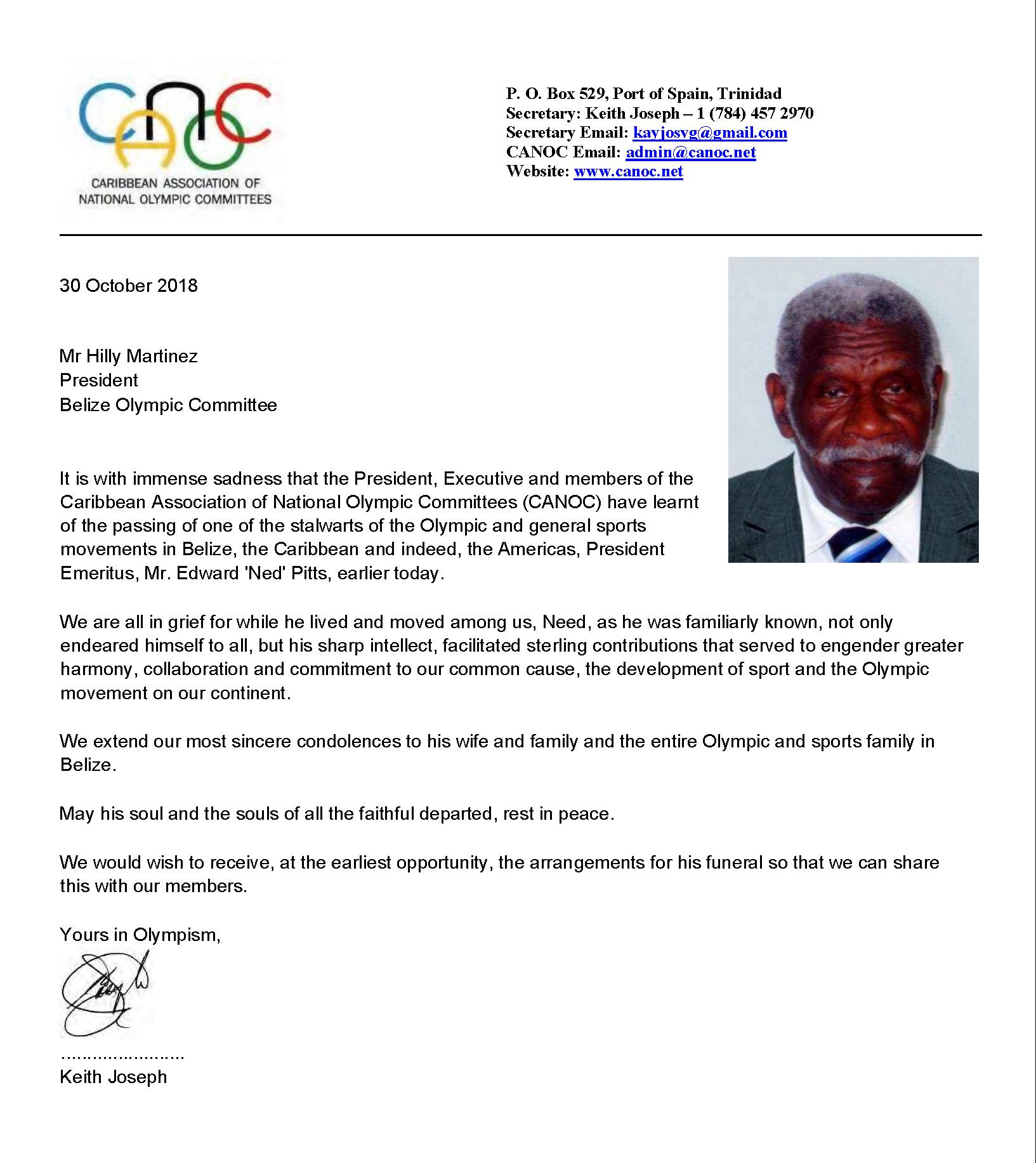 CANOC Condolences Belize-Edward 'Ned' Pitts 2018 Oct