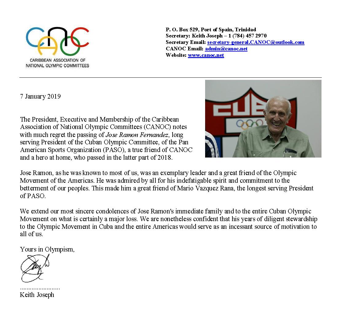 CANOC Condolences CUBA Jose Ramon 2018 Jan