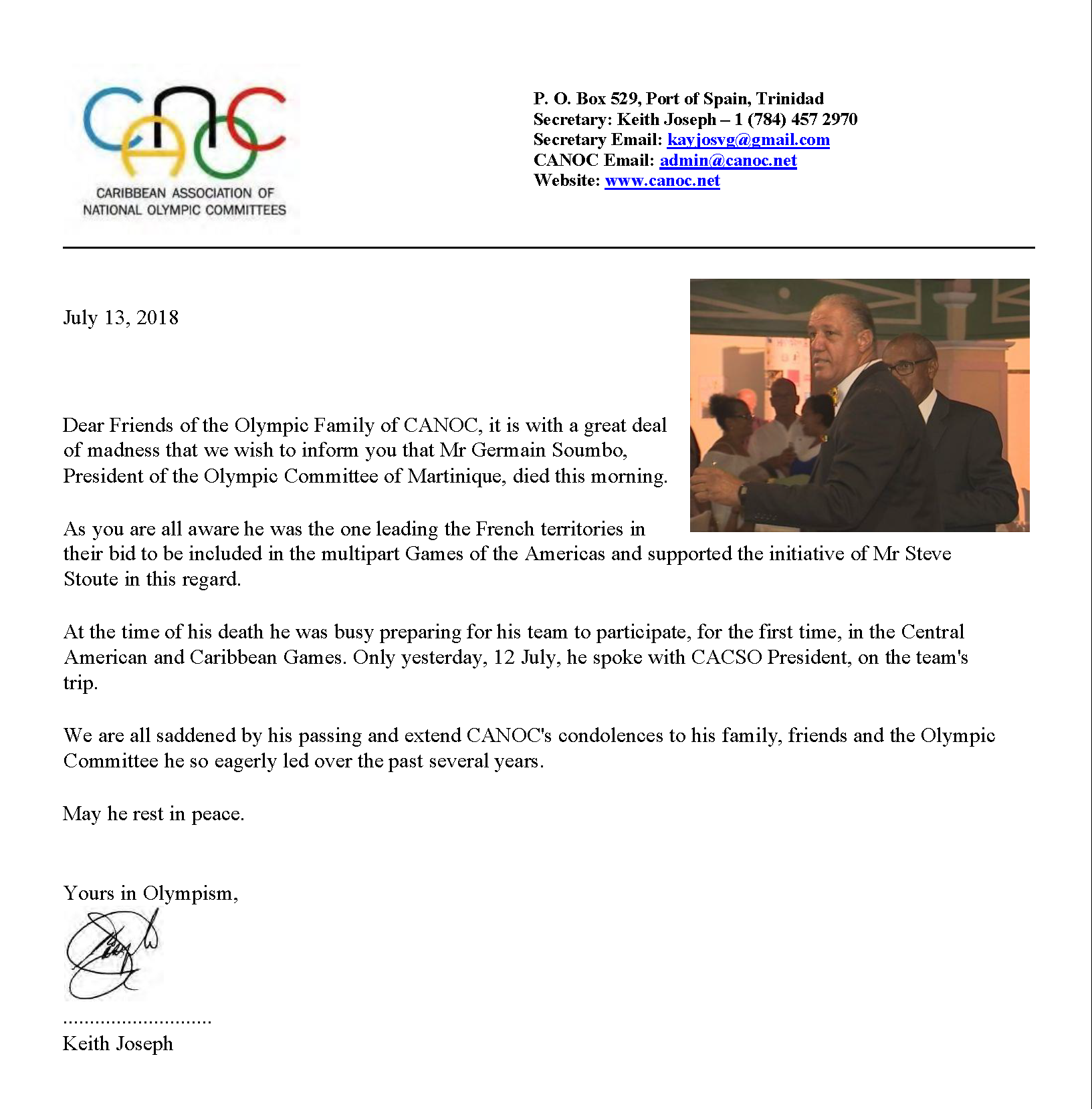CANOC Re Pres.Soumbo's passing 2018 Jul
