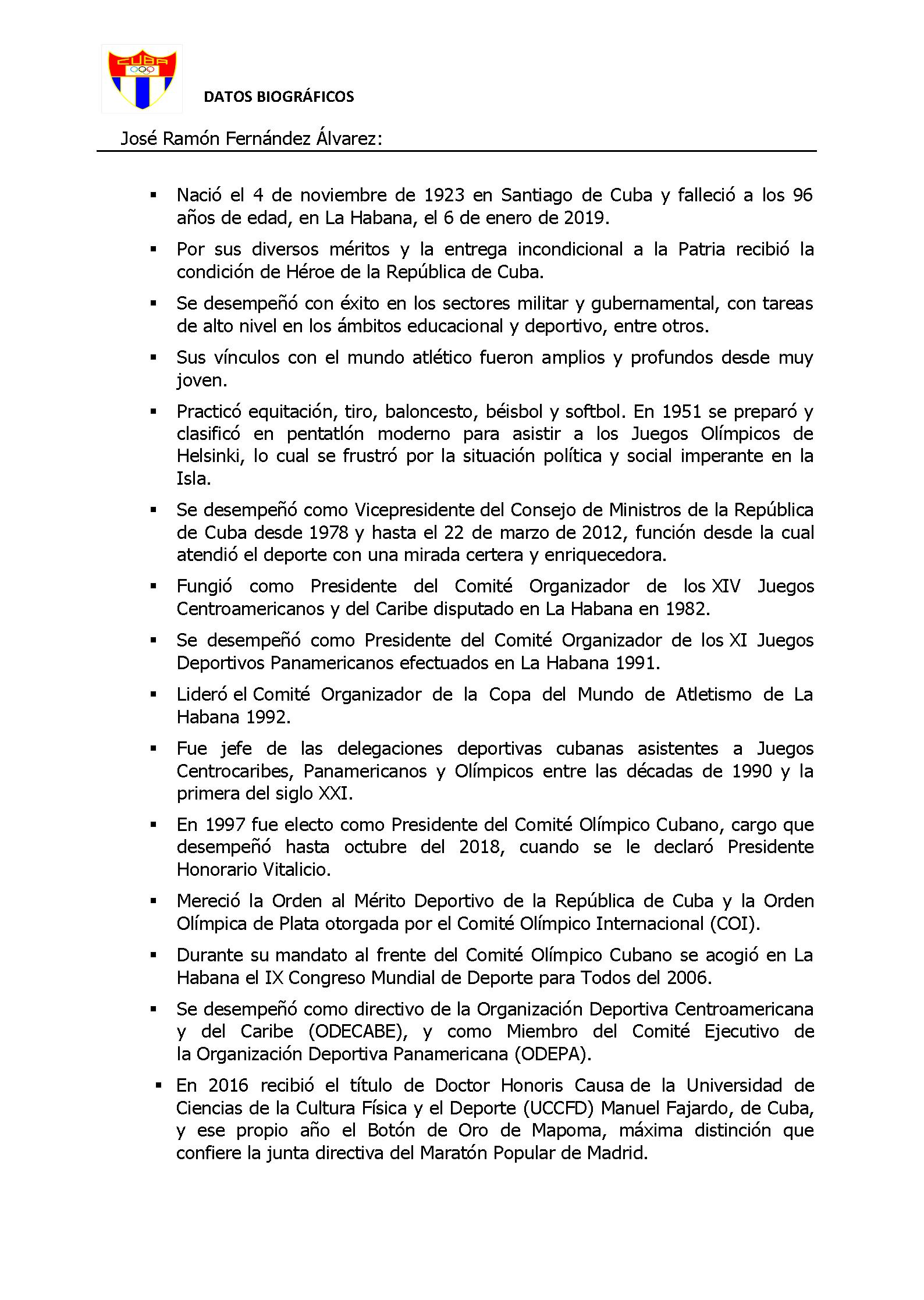 DATOS BIOGRÁFICOS DE JOSÉ RAMÓN FERNÁNDEZ ALVAREZ