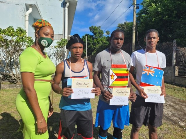 Portsmouth Secondary School's Commonwealth Day 2021 Cross Country.  1st, 2nd and 3rd Prizes sponsored by the Dominica Olympic Committee. Prizes presented by Gen Sec on the behalf of the DOC