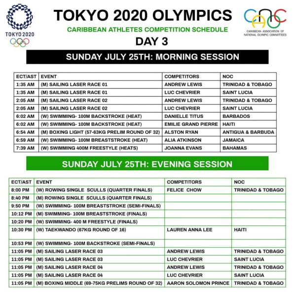 DAY 3 25TH JULY SCHEDULE